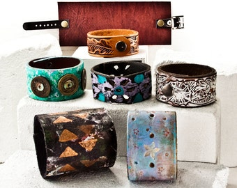 Leather Jewelry Sale Cuff Bracelet Lot - Bulk Quantity Discount Jewellery Accessories - Armbands Wrist Cuffs Wrist Bands ON SALE