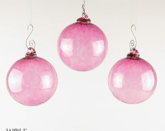 Christmas Ornament Blown Glass Suncatcher Pink Glass Bulb Ornament