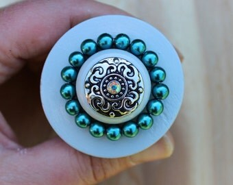 Large Wooden Drawer Knobs - Furniture Knobs in Grey and Teal Metal top and Crystal (WK13)