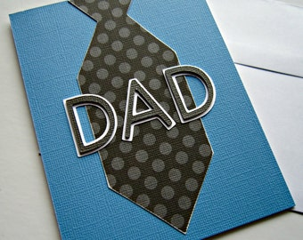 Father's Day Card with a Tie in Blue, Black and Gray