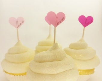 100 Ombre Pink Heart Love Wedding Cupcake Mini Toppers, Bridal Shower Decorations, Wedding Reception, Food Picks