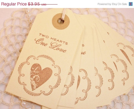 Wedding Tags Two Hearts One Love Favor and Gift Heart Set of 8