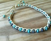Anklet metallic gunmetal and teal Crochet Cotton Ties On Adjustable Length Durable
