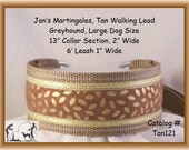 Jan's Martingales, Tan Walking Lead, Collar and Lead Combination, Greyhound, Large Dog Size Tan121