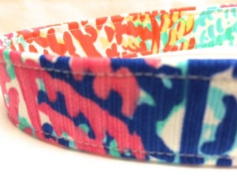 Lilly Pulitzer Fabric Dog Collar Boy Girl Electric Feel Blue Orange Pink