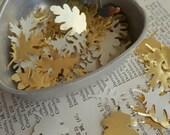 500 vintage gold foil mini paper leaves confetti - 4 different shapes