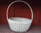 Shabby Woven White Wicker Decorative Oval Basket with Handle