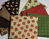 NEW  Folk Art Apples Fabric Bundle - 9 Fat Quarters for Quilt Craft Bundle B