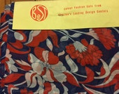 3 Yards of 1960's Voile - Red White and Blue - Divine - originally 1.99