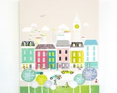 London Skyline, Framed Canvas Wall, Large Art Print, Big Ben, England, illustration, Home decor, Nursery, ready to hang, pastel green