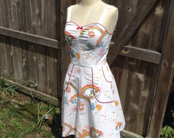 Care Bear Pin UP Dress OOAK Recycled