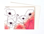Pretty Thank You Note, Single Watercolor Poppies Greeting Card in Persimmon, Perfect for Every Occasion