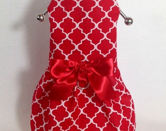 Lady In Red Dog Harness Dress Size XXXS through Medium by Doogie Couture Pet Boutique