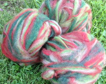 Alpaca Wool Roving, Spinning, Felting, Red, White, Green