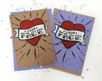 I love your Face Tattoo Heart Card, Linocut Card, Hand Printed Card, Letterpress card, Traditional Tattoo Style, Anniversary Card