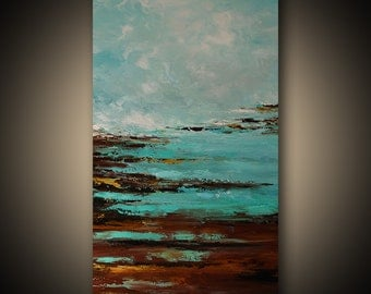 Abstract Paintingx Original, Palette Knife, Wall Decor, Landscape Painting, Art by Catalin, Wall Art, Large Painting, Seascape Painting, 48""