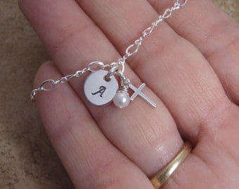 Girl's cross and initial bracelet - Dainty Sterling initial bracelet - Girl's 1st Communion, Baptism gift - Photo NOT actual size