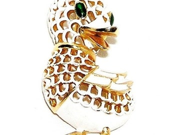 Trifari White Enamel Green Eyed Duck Figural Brooch