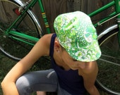 Cycling Hat - green paisley