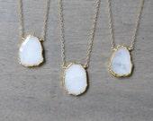 Custom for Kelli - Moonstone Necklace, June Birthstone, Gold Filled, Moonstone Slice with Gold Electroplate, White Gemstone