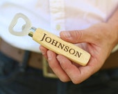 Personalized Wood Beer Bottle Opener Engraved Wedding, Groomsman, Best Man, Bachelor Party, Christmas Gift (MMHDSR10071)