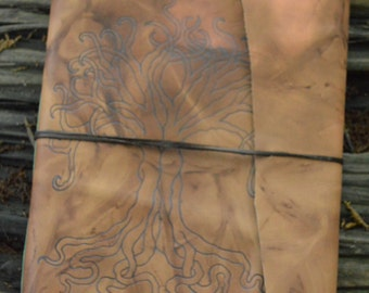 Extra Large Handmade Leather Journal Tree of Life Design Free Personalization