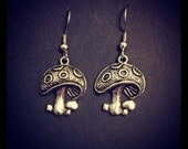 Silver Mushroom Earrings (Surgical Steel Hooks)