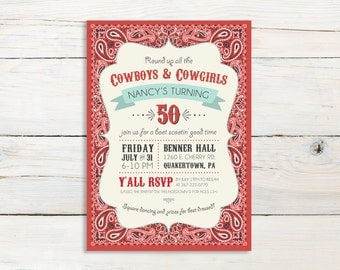 Western Bandana Cowboy or Cowgirl Birthday Party Invitation