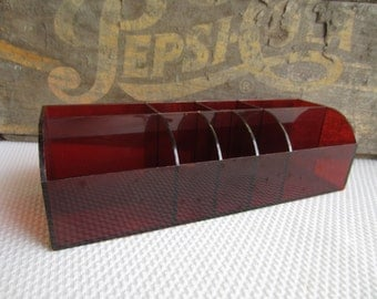 Vintage Lucite Desk Organizer Rounded Top made in Hong Kong