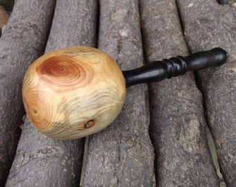 Pine Wood Darning Egg - Sock Darner - Eco-friendly Hand Turned Wooden Darning Egg with Ebony Wood Handle - Wood Darning Egg