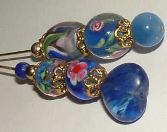 my own design- BLUE RHAPSODIES HATPINS- lampwork beads 2die4 pretty- ooak no others- shades of blues