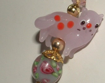 """HATPIN-my own design- kitty boo boo in pink- so sad shes cute- lovely lampwork beads 8"""" pin"""