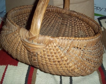 Splint oak woven antique BASKET - gathering basket - over 100 year- native american basketry - vegetable gathering basket - authentic  woven