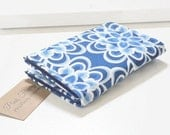 Blue Floral Business Card Holder Card Case Blue on Blue Small Wallet Business Card Case