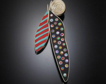 Sterling silver, polymer pin #42