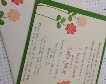 Flower Invitations, Bridal Shower Invitations, Baby Shower Invitations, Garden Party Invitations, Wedding Invitations - Set of 8