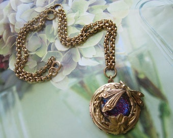 Dragonfly And Flower On  Gem Locket Necklace