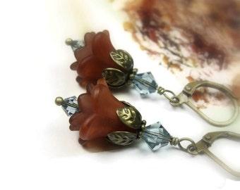 Boho Chic Earrings, Blue Brown Swarovski Crystal Flower Earrings, Café au lait, Gifts for Gardeners, Flower Earrings, Birthday Gifts for Mom
