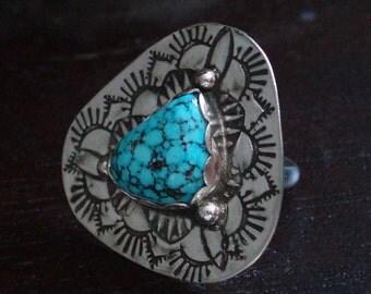 Rustic Artisan Kingman Turquoise Sterling Silver Ring