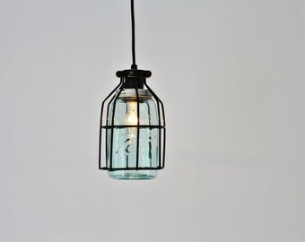 Pendant Light, Black Cage Hanging Pendant Lamp, Antique Early 1900s Blue-Green Ball Mason Jar Shade - Industrial BootsNGus Lighting & Decor