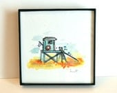 Lil' Lifeguard Stand, Summer Love, Sand and Sea Watercolor and Ink, Archival Quality 4x4 Framed Mini-print