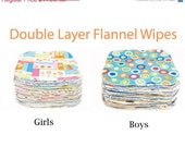 Sweet Bobbins Cloth Wipes Set of 100 wipes -  Double Layer Flannel - 8x8