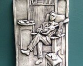 Man with Guitar Ceramic Pottery Relief Sculpture Tile