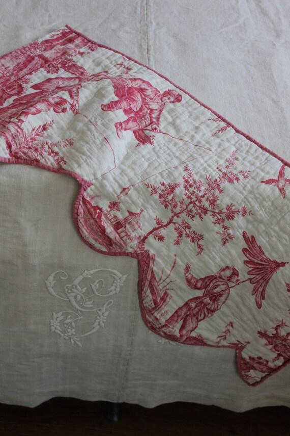 18th c toile de jouy linen quilt c 1785 oberkf