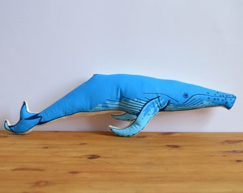 SALE - Silkscreen Whale Pillow