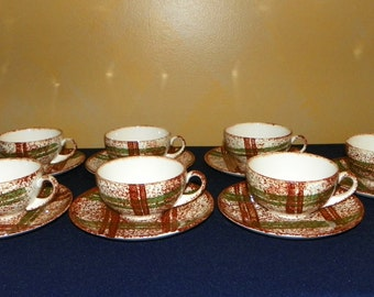 Blue Ridge Southern Pottery Cup/Saucers in the Rustic Plaid Pattern, 7 Sets or 14 Pieces
