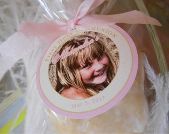 Baptism Photo Tags // First Communion Custom Catholic Favor Tags // For Cake Pops // Cookies