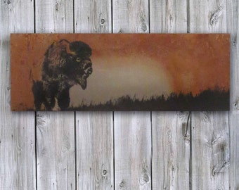 Metal Wall Art - Bison on Rusted Metal- FREE SHIPPING