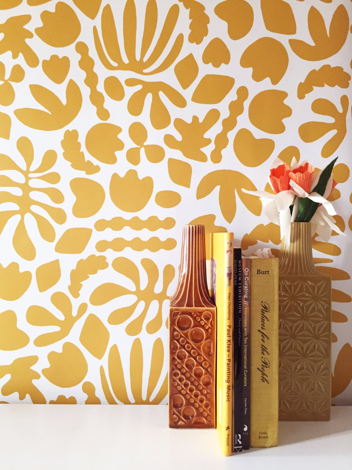 Removable Wallpaper Muse In Mustard Adheres To Walls And