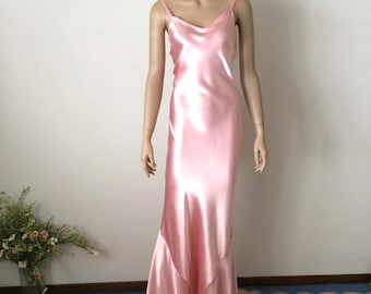 RESERVED for Margaret Sexy 1930's Cotton Candy Pink Bias Cut Luxurious Rayon Satin Dress